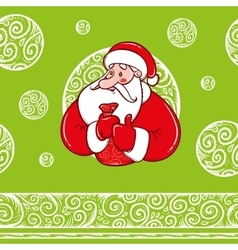 Santa Claus with gifts and pattern vector image