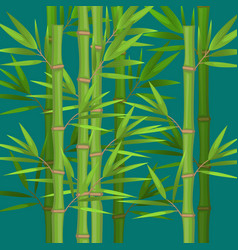 Stalks of bamboo with green leaves flat theme in vector