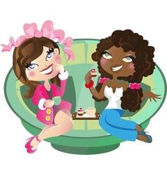 Women having tea vector image vector image