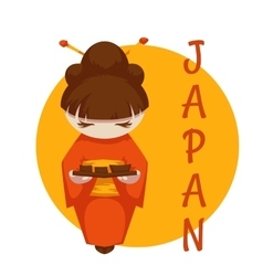 Asian girl with sushi Japan vector image vector image