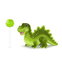 cute cartoon dinosaur dragon character with green vector image