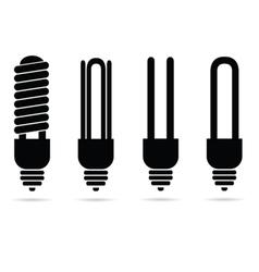 ecology ligh bulb black silhouette vector image