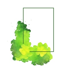 Green watercolor spot with frame vector image