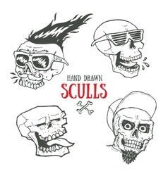 Hand drawn funky style sculls set Jolly Roger vector image