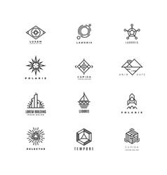 Minimal geometric vintage labels set vector
