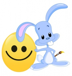 smiley face and bunny vector image vector image