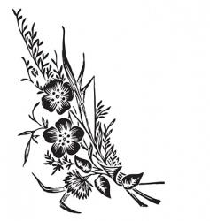 antique flowers corner engraving vector image vector image