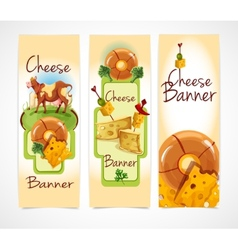 Cheese banners vertical vector image vector image