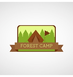 Forest Camping logo Wilderness adventure badge vector image
