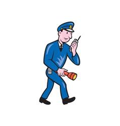 Policeman Torch Radio Cartoon vector image vector image