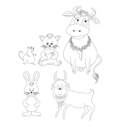 Set cartoon animals outline vector image