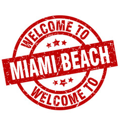 welcome to miami beach red stamp vector image