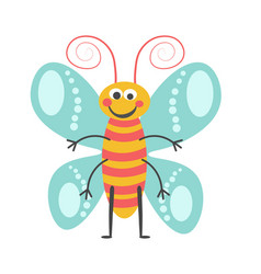 cheerful butterfly with curled antennae and vector image