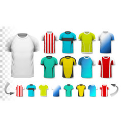 Collection of various soccer jerseys vector