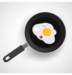 Fried egg on frying pan vector image