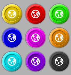 Globe icon sign symbol on nine round colourful vector image