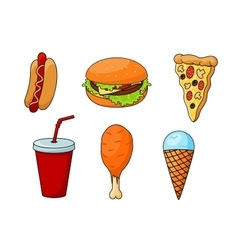 Traditional fast food menu snacks vector image vector image
