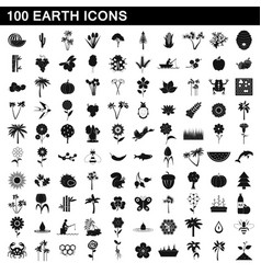 100 earth icons set simple style vector
