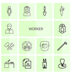 14 worker icons vector image