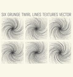 6 grunge twirl lines textures vector image