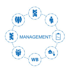 8 management icons vector