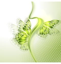 Abstract wave green background with butterfly vector
