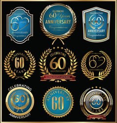 anniversary gold and blue labels collection 60 vector image