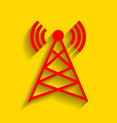 antenna sign red icon with vector image