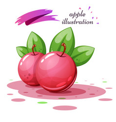 apple leaf and juice - cartoon vector image