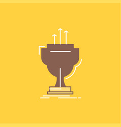 award competitive cup edge prize flat line filled vector image