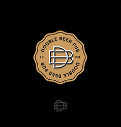 b d letters double beer pub logo brewery emblem vector image