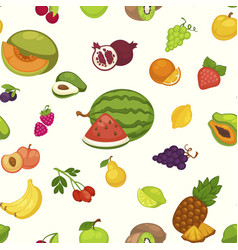 banana and watermelon cherry and pineapple fruits vector image