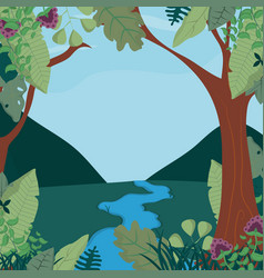 beautiful forest landscape vector image