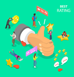 best rating flat isometric concept vector image