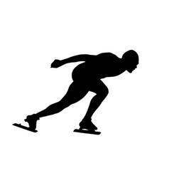 Black silhouette man athlete speed skater vector