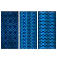 blue metal perforated backgrounds brochure design vector image