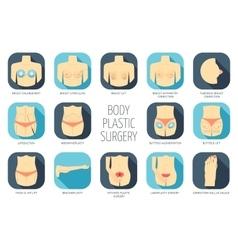 Body plastic surgery icons Flat design vector image