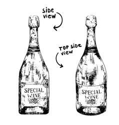 bottle sparkling wine vector image