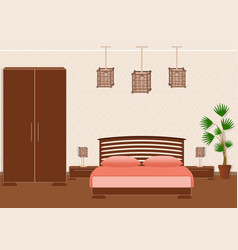 Brutal spartan style bedroom interior with vector