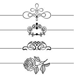calligraphic design elements decorative swirls vector image