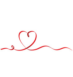 calligraphy red ribbon heart on white background vector image
