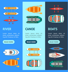 cartoon color boats banner vecrtical set vector image