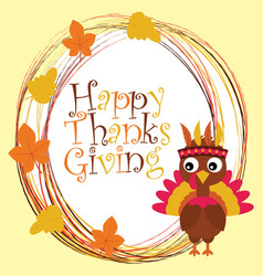 Cartoon with cute turkey and happy thanksgiving vector