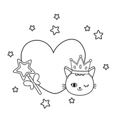 cat and wand with heart black and white vector image