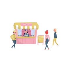 cheerful girl standing behind counter of street vector image