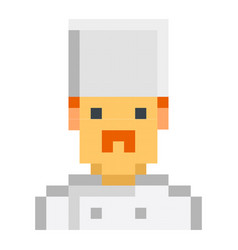 chefc cook pixel art cartoon retro game style set vector image