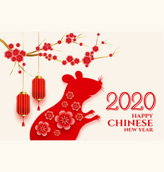 Chinese new year rat greeting background vector