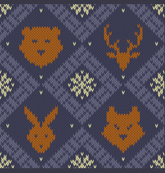 christmas knitted pattern with wild forest animals vector image
