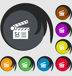 Cinema movie icon sign Symbols on eight colored vector
