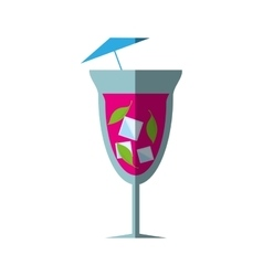 cocktail fresh drink umbrella ice shadow vector image